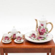 1/6 Miniatur Geschirr 8 Stück Porzellan Sommerblüte Teeservice Set Neu