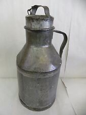 Vintage Metal Tin Steel Milk Jug With Lid & Chain Signed 8 Quarts 16.5""