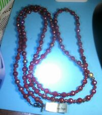 """Premier Designs SCARLET Cranberry Beaded Necklace NWT 60"""" RV $49"""