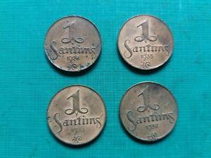 LATVIA FIRST REPUBLIC  1 SANTIMS 1926, 1928, 1932, 1935.