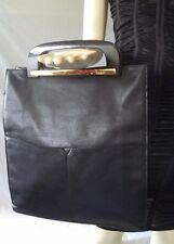 Vintage Gucci Black Pebbled Leather Handbag (Rare)