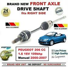 Pour Peugeot 206 cc 1.6 16V 109bhp Manuel 2000-2007 Essieu avant Droit Arbre de