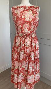 Red Pink Floral Vintage Laura Ashley 80's Belted Cotton Shift Dress UK10-12