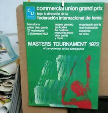 AFFICHE ANCIENNE TENNIS BARCELONE BARCELONA MASTERS TOURNAMENT 1972 ESPAGNE