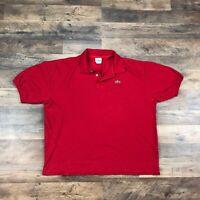 Lacoste Short Sleeve Polo Shirt Men's Size 10 4X Crocodile Logo Red Adult