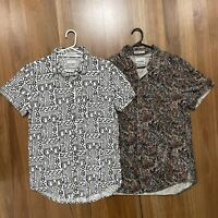 2 X Stussy Mens Button Up Shirt Sz M party loud shirts colourful retro pattern