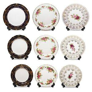 Royalty Porcelain Set of 6 Dinner Dessert or Salad Plates, Vintage Gold Pattern
