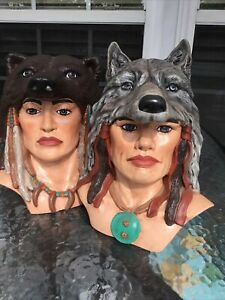 Vintage Ceramic Mold Molds Bust Southwest Indian Wolves Heads  Pair