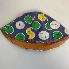Vtg 70s Happy Smiley Face Print Toddler Youth Bucket Hat Green Yellow Unisex