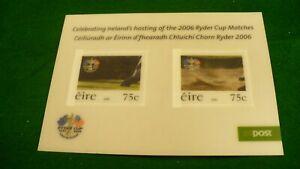 Ireland Eire hologram postal stamp sheet 2006 Ryder cup commemorative P914
