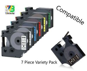 """Dymo Compatible Label Tape Replacement 7pc variety pack 12mm (1/2"""" X 23')"""