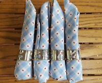 """COUNTRY """"CHIC"""" SET OF 4 SILVER TONE METAL CHERRY NAPKIN RINGS W/ NAPKINS"""