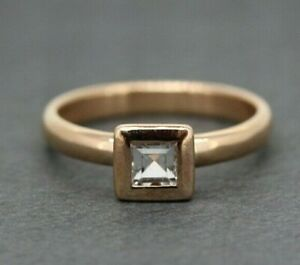 9ct Rose Gold 0.25ct Blue Topaz Solitaire Ring Size O, US 7