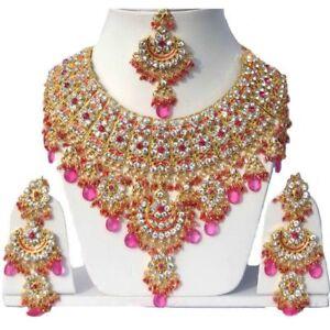 Gold Plated Jodha's Kundan Zerconic Bollywood Necklace Set Earring Tikka Jewelry