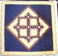 "Queen Quilt Marge Handmade 94"" x 94"" Beige And Dark Blue Scalloped Border"