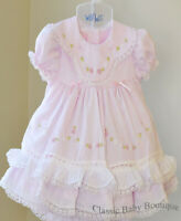 NWT Will'beth Pink Color Heirloom Lace 2pc Dress 9M 9 M Bloomers Girls Frilly