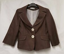 Wallis brown Fitted Jacket linen jacket Size 10 Jacket Women Jacket Brown Jacket
