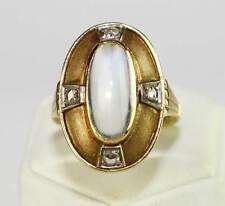 Ring & Ohrringe 585 Gold Diamant-Rosen Mondstein Set Gelbgold 585er ART DECO