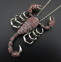 Betsey Johnson Pink Crystal Big Scorpion Pendant Sweater Necklace/Brooch