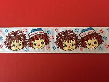 RAGGEDY ANN & ANDY Grosgrain Ribbon 1Mtr X 22mm For Craft Hair Gifts Cakes
