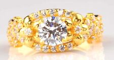 14KT Solid Yellow Gold 2.50Ct Round Shape Solitaire With Accents Engagement Ring