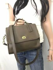 COACH Vintage Brown Taupe Leather Court Turnlock Flap Crossbody #9870