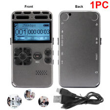 Rechargeable LCD Digital Audio Sound Voice Recorder Dictaphone MP3 Player Black