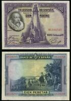 SPAIN 100 Pesetas, 1928, P-76, VF World Currency