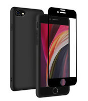 Matte Case for iPhone SE 2020 / iPhone 7 / 8 + Full Glass Screen Protector Cover