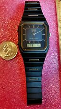 VINTAGE SEARS PHASAR  V041 BLACK/GOLD DUAL LCD ANALOG WATCH NEW OLD STOCK RARE