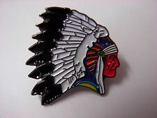 Red Indian chief pin badge. Native red Indian. Apache Sioux Cherokee Shawnee