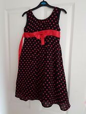 BLACK AND RED POLKA DOT CHIFFON STYLE GIRLS DRESS LONG SIZE 7-8 YEARS