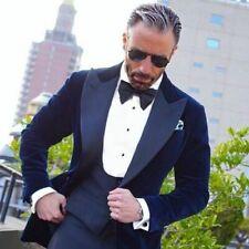 Men Navy Blue Smoking Jackets Designer Elegant Wedding Party Wear Blazer Coat