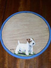 More details for antique sealyham terrier dog oil painting on birch panel signed 1938