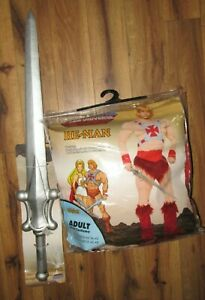 Masters of the Universe He-Man adult costume w Sword size 34-40 NEW