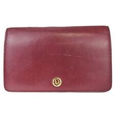 Authentic Christian Dior Logos Clutch Hand Bag Leather Bordeaux Vintage 08Y304