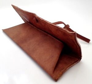 NEW HAND-MADE REAL LEATHER PENCIL CASE ARTIST MAKE UP POUCH VINTAGE COSMETIC PEN