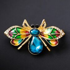 Blue Bumblebee Gold Pin Brooch Nature Lover Animal Jewellery Womens