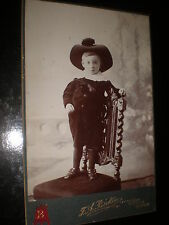 Old cabinet photograph boy big hat by Baker at Ripley Derby c1900s ref 520(11)