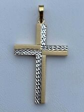 "Mens Solid 14k Yellow Gold Diamond Cut Cross Pendant 1.5"" 1.2gr Great Necklace"