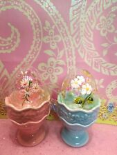 Vintage Blown Glass Easter Eggs Hand painted Flowers in Pink & Blue Egg Cups New