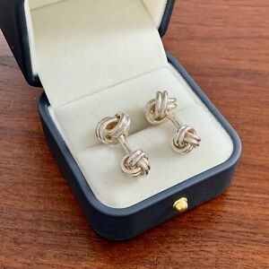 TIFFANY & CO. STERLING SILVER DOUBLE KNOT BARBELL CUFFLINKS