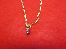 """14 Kt Gold Ep 2Mm Figaro Anklet 9 1/2"""" With A June Crystal Birthstone Drop"""