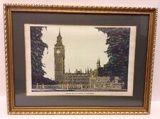 Framed Hand Colored Print Big Ben and Houses of Parliament Signed William Horn
