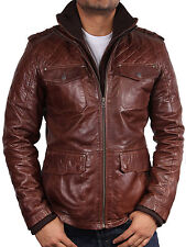 Men leather Jacket Vintage Warm Quilted Leather Bomber Jacket Casual Fitted