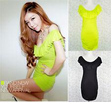 ♡IT♡ Neon Frill Bodycon Ruching dress Top Scoop Sexy Korean 2 way Pub Office