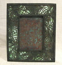 "Tiffany Studios Pine Needle 9 1/2"" Picture Frame with Green Slag Glass"