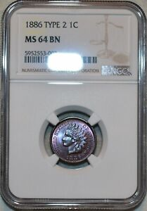 NGC MS-64 BN 1886 Type 2 Indian Head Cent, Beautifully toned w/ Gem eye appeal!
