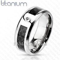 FAMA Solid TITANIUM Black Graphite Carbon Fiber Inlay w/ CZ Band Ring Size 9-13