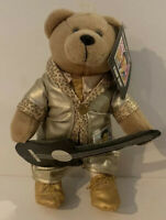 """ELVIS Stamp Bear Plush 9/"""" T Gold Suit W//Guitar 6.5/"""" L Collectible Brand New"""